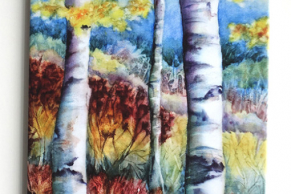 Watercolor Fall Birch Tree Elvira Para Art Tile